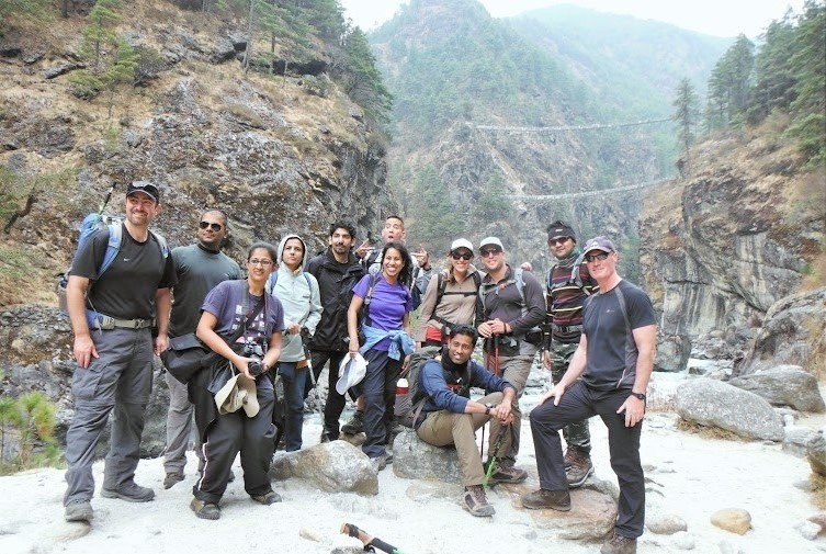 My group, from left; Bob, Mohit, Priti, me, Pranav, John, Alka, Anand, Maree, Mark, Rahul & Bill. Hillary suspension bridge in the backdrop, EBC trek