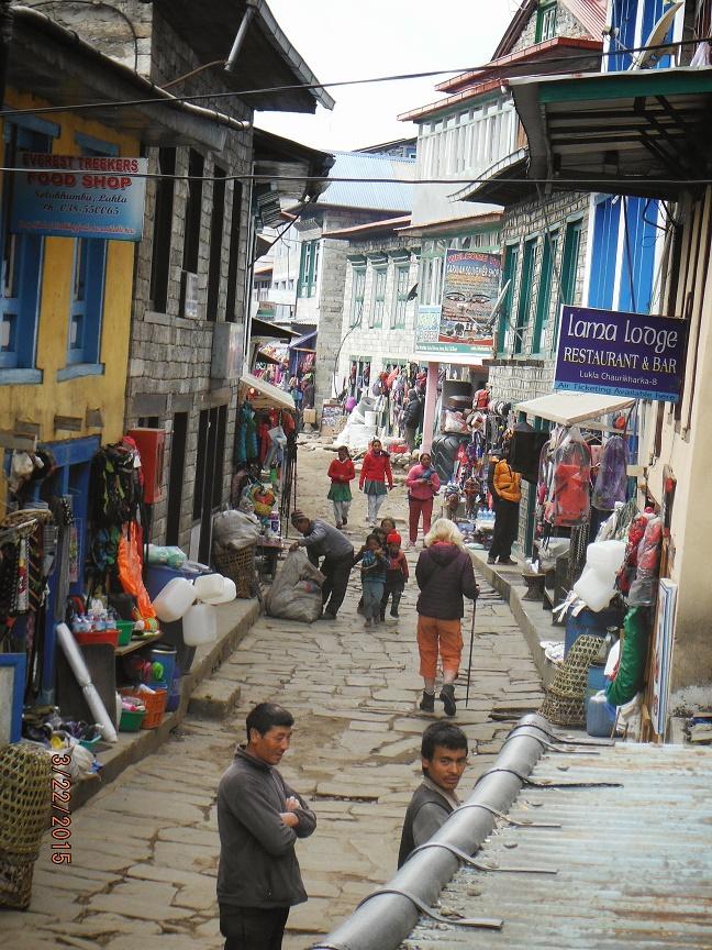Bustling Lukla village