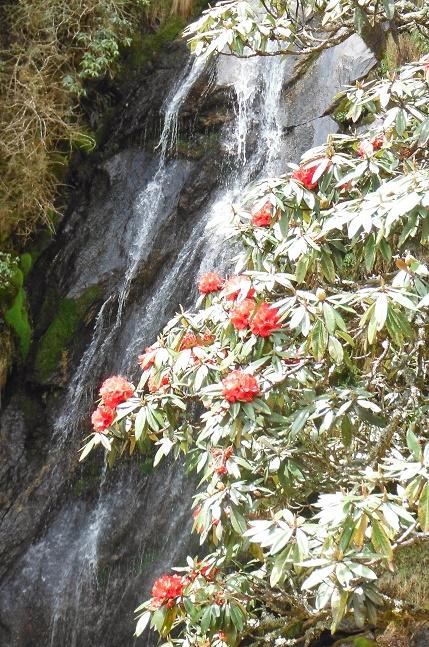 Waterfall en route Lukla