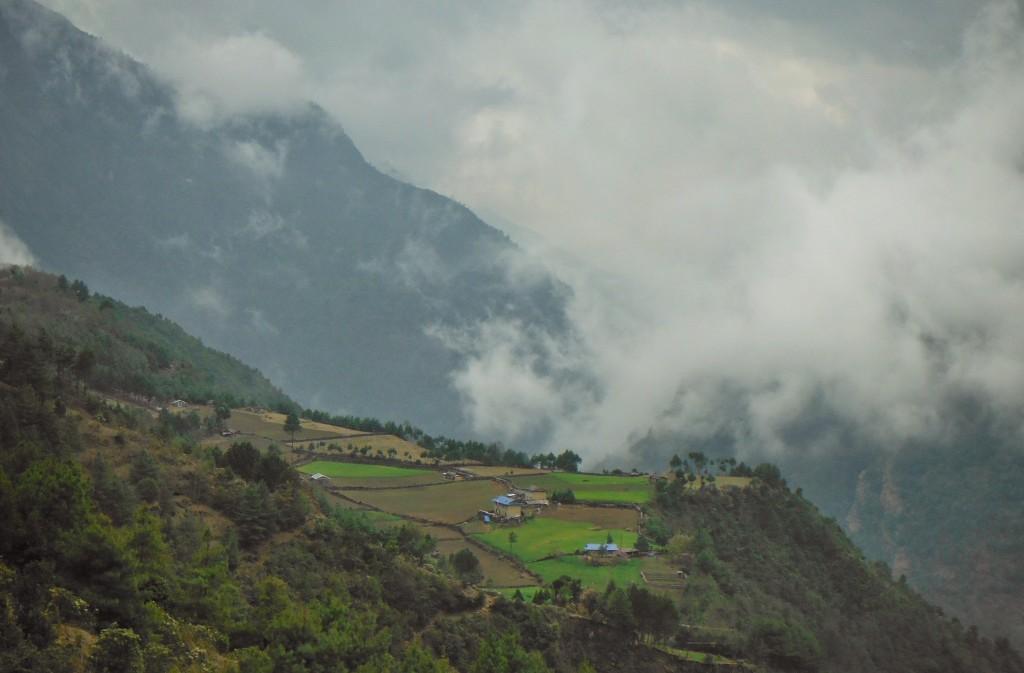 Beautiful terrace fields en route Lukla