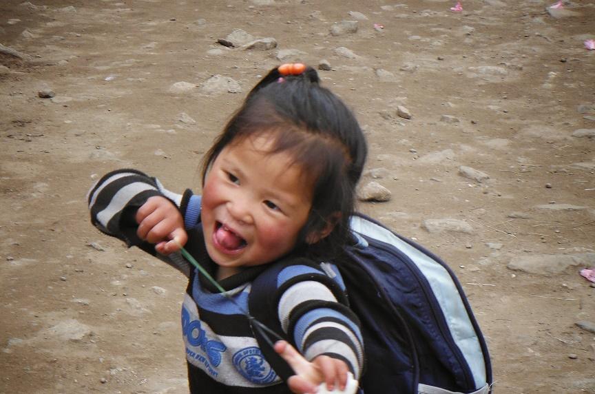 Cute Sherpa child en route Lukla