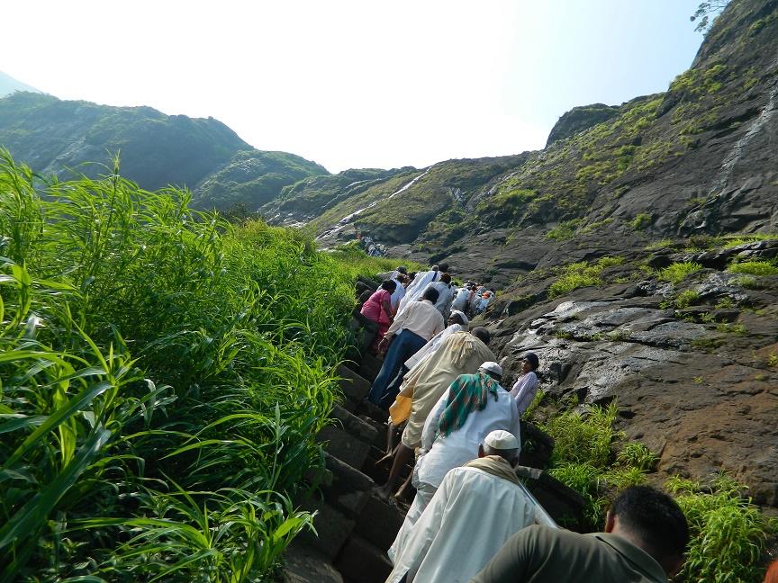 Devotees ascending Brahmagiri Hills