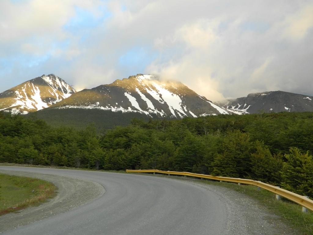 Sunlit mountain peaks