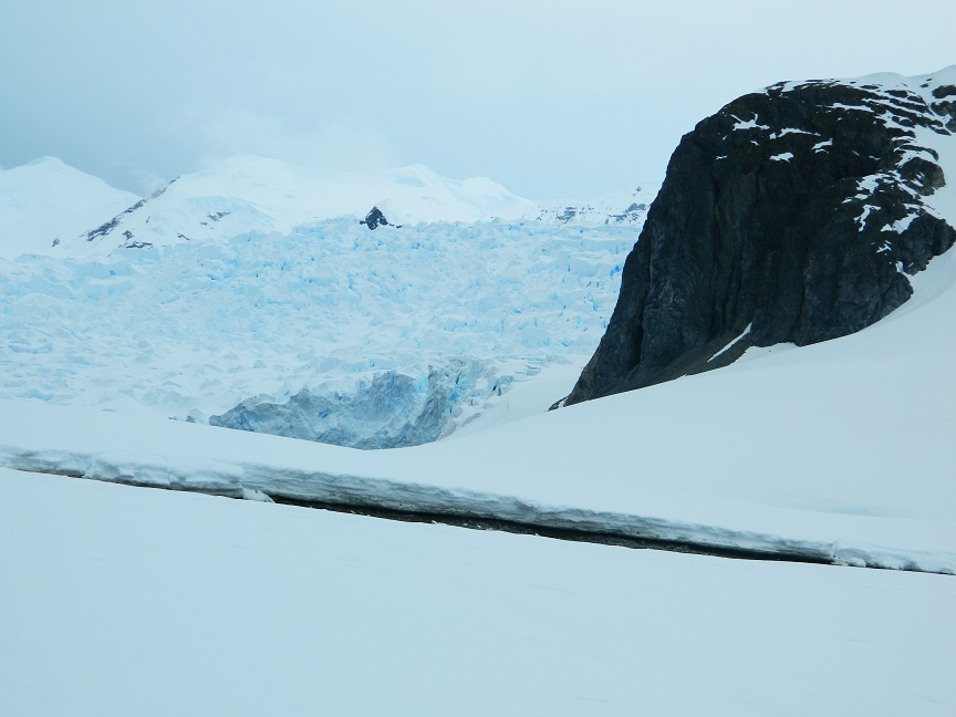 Ice calving in glacier
